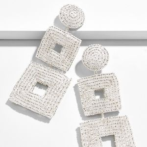 NEW BAUBLEBAR HENNA DROP EARRINGS SILVER SQUARE